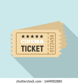 Cinema ticket icon. Flat illustration of cinema ticket icon for web design