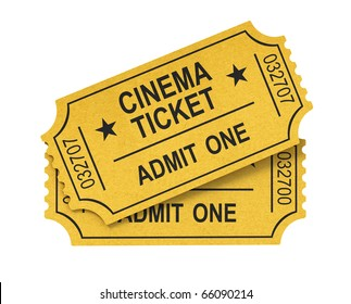 Cinema ticket on white background