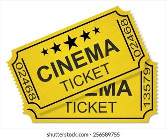 cinema tickets isolated on white background