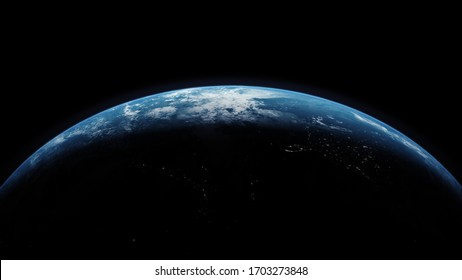 A cinematic 3d rendering-3d illustration of planet Earth rise rotation moving from night side to the illuminated daylight side with the sun rising on the planet's horizon