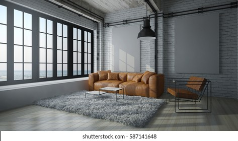 cinematic Modern living room with white wall ,brown leather couch, fur carpet and loft concept interior design