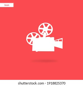 Cinematic theme. A video camera with a simple design style