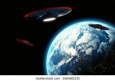 Cinematic UFO flying saucers with Red lights looming over Earth, Metallic reflective surface - 3D rendering