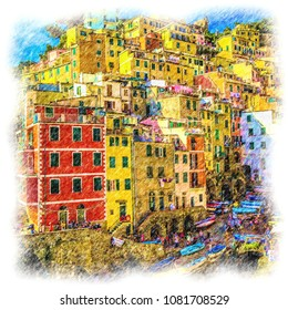cinque terre, italy. Colored pencil drawing artwork with white artistic frame. Sketch isolated fine art. Creative print for canvas or textile. Wallpaper, poster or postcard design.