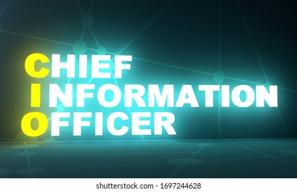 CIO - Chief Investment Officer acronym. Business concept background. 3D rendering. Neon bulb illumination