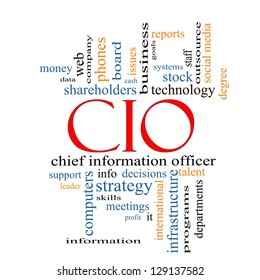 CIO Word Cloud Concept with great terms such as information, officer, data, reports and more.