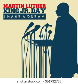 Circa January 13, 2016: An illustration of a portrait of Dr. Martin Luther King, Jr., on a beige background.