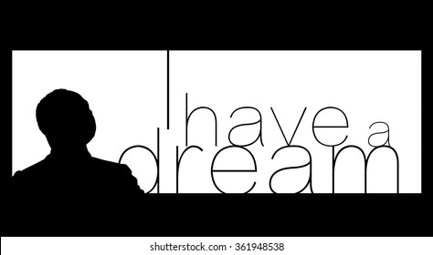 Circa January 13, 2016: A silhouette illustration of a portrait of Dr. Martin Luther King, Jr., on a black background.