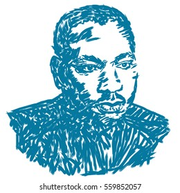 Circa January 20, 2017: An illustration of a portrait of Dr. Martin Luther King, Jr., on a white background.