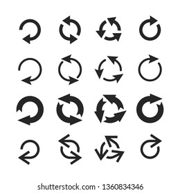 Circle arrow icon. Round arrows, circular pointing sign and circles button or internet restart reload rotate arrow. Circled cursor web recycling progress buttons  isolated icons set