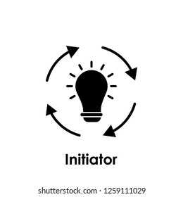 circle, arrows, bulb, initiator icon. One of business collection icons for websites, web design, mobile app