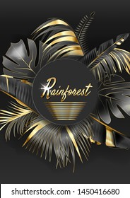circle banner with black and gold tropical leaves on dark background.