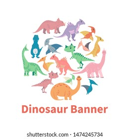 Circle banner from cartoon dinosaurs. Cute hand drawn funny illustration of dinosaurs round composition.