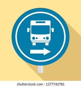 Circle bus station sign icon. Flat illustration of circle bus station sign icon for web design