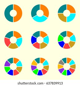 Circle chart set. Round pie chart template. Circle infographic concept with 2,3,4,5,6,7,8,9,10 steps, parts, levels or options.