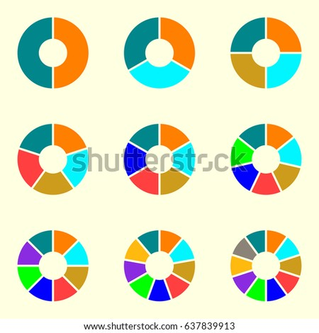 circle chart set round pie chart stock illustration 637839913