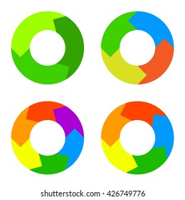 Circle Color Diagram Set in Flat design Style. .