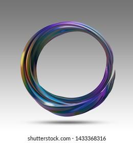 Circle of colorful metal suitable as frame, 3d render / rendering