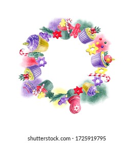 Circle composition of hand painted Christmas cupcakes, abstract spots and different decorations. Yellow, red, purple and green color palette. For templates,  invitation, greeting and postcards.
