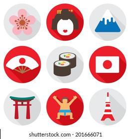 circle flat icon japan