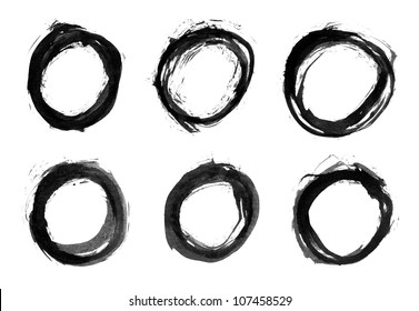 Circle form black brush stroke. Drawing created in ink sketch handmade technique. Isolated shapes on white background.