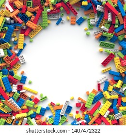 Circle frame of colored toy bricks with place for your content. 3d rendering.