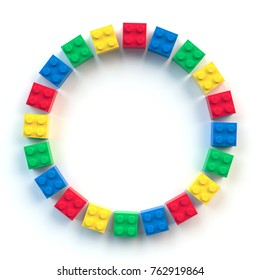Circle frame of colored toy bricks isolated on white background. 3D Rendering.