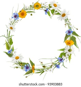 Circle frame from colorful summer flowers without shadow
