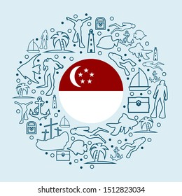 Circle Frame with Diving Line Icons. Travel and Vacation Poster Concept. Flag of the Singapore