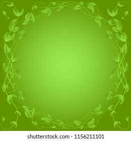 circle of green leaves on a branch, border,on green background.frame for postcard