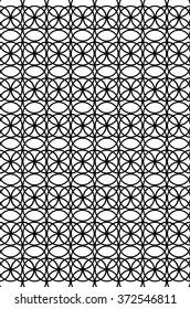 Circle Heaven 2 Black and White Illustration is a background illustration of the same sized circle multiplied, overlapping in intertwined to create a uniform pattern.