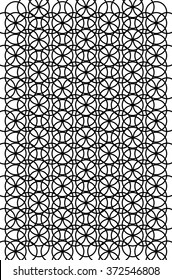 Circle Heaven Black and White Illustration is a background illustration of the same sized circle multiplied and over lapping to create a uniform pattern.