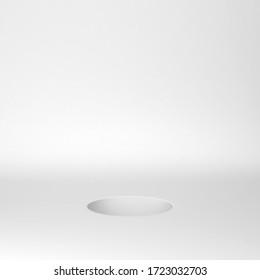 Circle hole in a floor. Minimal scene. 3d illustration