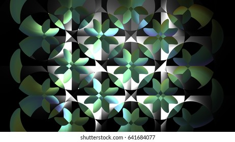 Circle of life geometry fractal formation of polygon structure Green and white