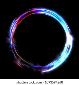 Circle of Light Element. Spinning Light Particles. Title Presentation Design. Circular Magic Effect. Isolated on Black Background.