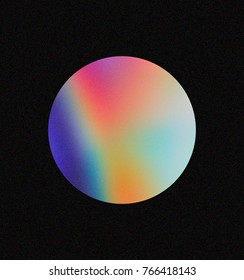 Circle made of holographic foil on dark background. Vaporwave / Synthwave style 80s - 90s, trendy colorful  illustration in pastel color.