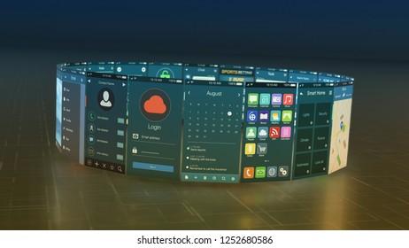 circle of mobile app templates (3d render)