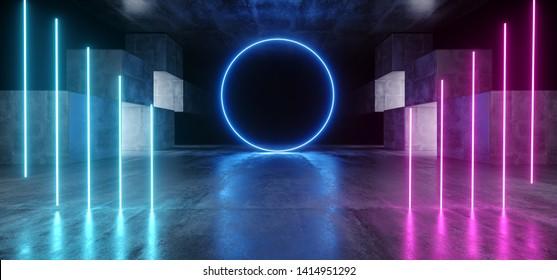 Circle Neon Lights Graphic Glowing Purple Blue Vibrant Virtual Sci Fi Futuristic Tunnel Studio Stage Construction Garage Podium Spaceship Night Dark Concrete Grunge 3D Rendering Illustration