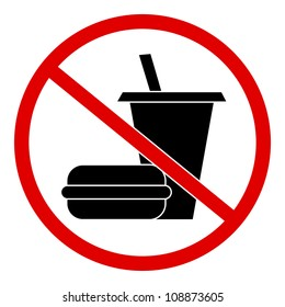 Circle No Food and Drink Sign  Isolate on White Background