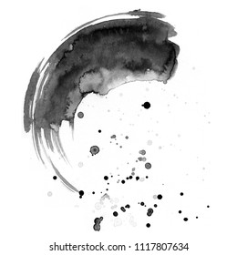 Circle painted with mascara on a white background. Black watercolor stain with texture and divorce. Abstract Painting for Design