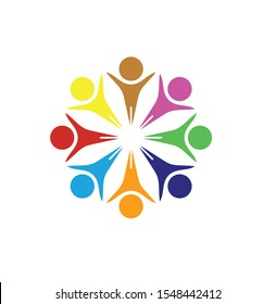 Circle people abstract colorful logo