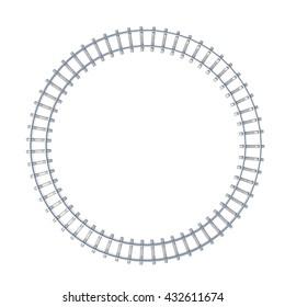 Circle railroad isoated on white background. 3d illustration