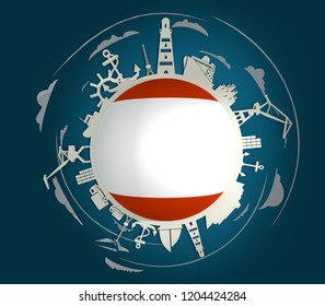 Circle with sea shipping and travel relative silhouettes. Objects located around the circle. Industrial design background. Antwerp flag in the center. 3D rendering