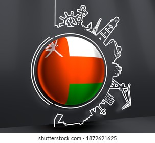 Circle with sea shipping and travel relative silhouettes. Objects located around the circle. Industrial design background. Flag of Oman. 3D rendering