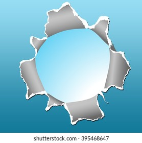 Circle shape breakthrough paper hole with blue background.