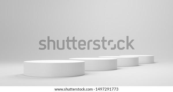 Circle Shape Empty Platorm, Scence Studio Or Pedestal For Display. 3D render