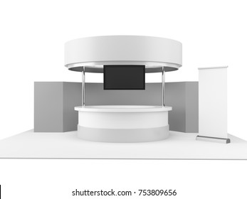 Circle shape fair trade stand stall. Mock-up template ready for customization. 3D render