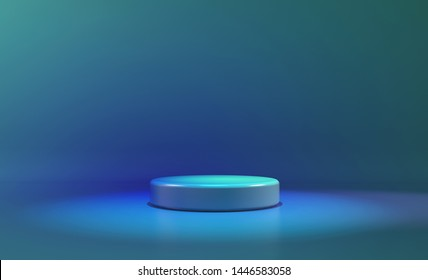 circle stage blue neon light. abstract futuristic background.3D illustration