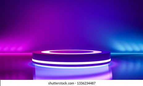 Circle stage and purple neon light, abstract  background, ultraviolet concept, 3d render