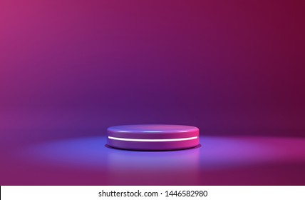 circle stage purple neon light. abstract futuristic background.3D illustration